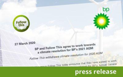 BP en Follow This schrijven samen klimaatresolutie voor 2021