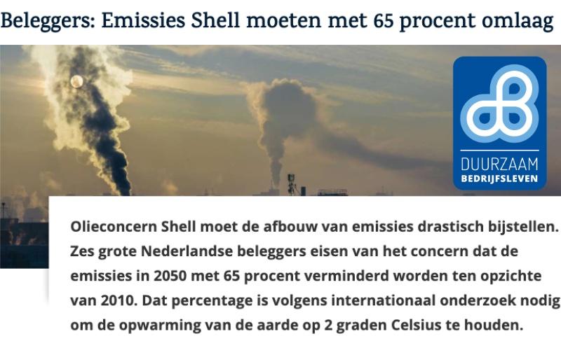 Beleggers: Emissies Shell moeten met 65 procent omlaag