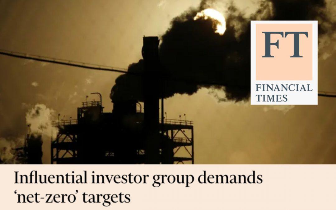 Influential investor group demands 'net-zero' targets