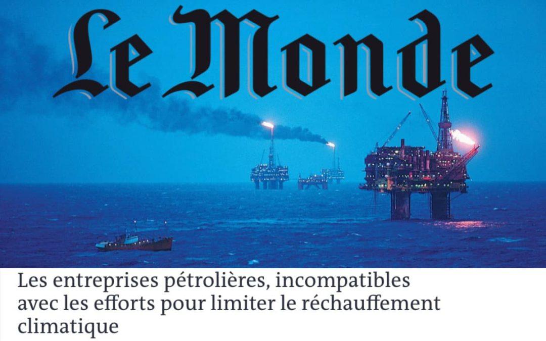 Les entreprises pétrolières, incompatibles avec les efforts pour limiter le réchauffement climatique